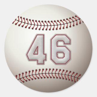 Jugador número 46 - puntadas frescas del béisbol pegatina redonda