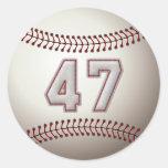 Jugador número 47 - puntadas frescas del béisbol etiquetas redondas