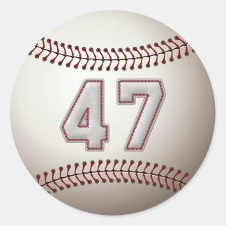 Jugador número 47 - puntadas frescas del béisbol pegatina redonda