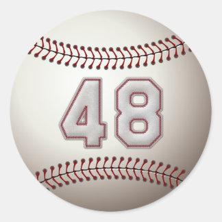 Jugador número 48 - puntadas frescas del béisbol pegatina redonda