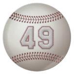 Jugador número 49 - puntadas frescas del béisbol plato de comida