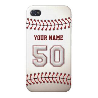 Jugador número 50 - puntadas frescas del béisbol iPhone 4 fundas