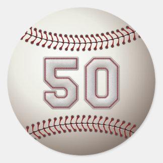 Jugador número 50 - puntadas frescas del béisbol pegatinas redondas