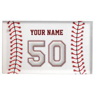 Jugador número 50 - puntadas frescas del béisbol soporte para tarjeta de mesa