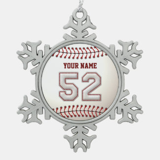Jugador número 52 - puntadas frescas del béisbol adornos