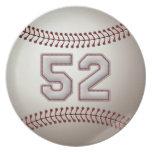 Jugador número 52 - puntadas frescas del béisbol plato para fiesta