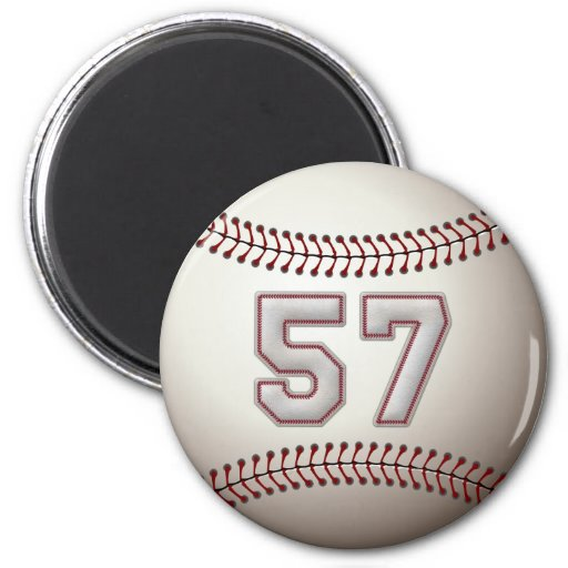 Jugador número 57 - puntadas frescas del béisbol imanes de nevera