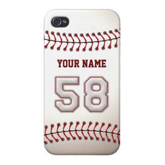 Jugador número 58 - puntadas frescas del béisbol iPhone 4 fundas