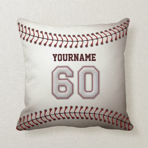 Jugador número 60 - puntadas frescas del béisbol cojín