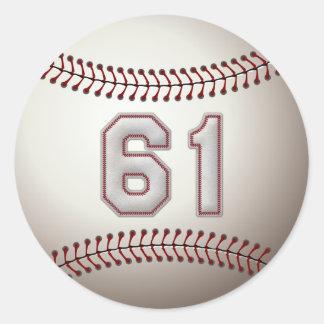 Jugador número 61 - puntadas frescas del béisbol pegatina redonda