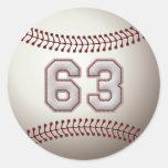 Jugador número 63 - puntadas frescas del béisbol pegatinas