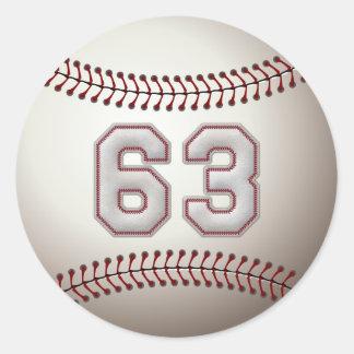 Jugador número 63 - puntadas frescas del béisbol pegatina redonda