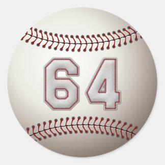 Jugador número 64 - puntadas frescas del béisbol pegatina redonda