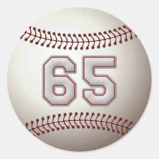 Jugador número 65 - puntadas frescas del béisbol pegatina redonda