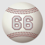 Jugador número 66 - puntadas frescas del béisbol etiqueta redonda