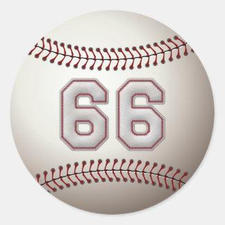 Jugador número 66 - puntadas frescas del béisbol pegatina redonda