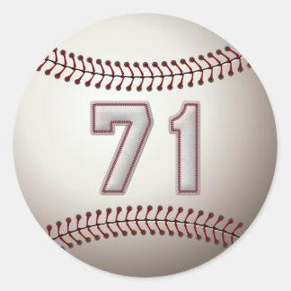 Jugador número 71 - puntadas frescas del béisbol pegatina redonda