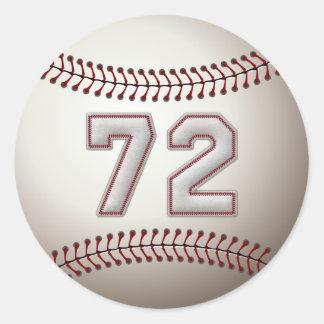 Jugador número 72 - puntadas frescas del béisbol pegatina redonda