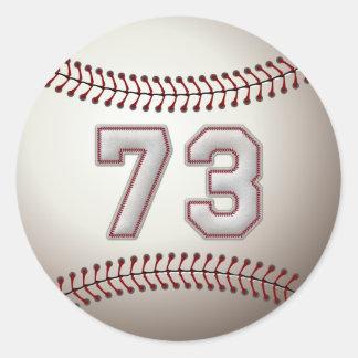 Jugador número 73 - puntadas frescas del béisbol pegatina redonda
