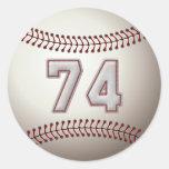 Jugador número 74 - puntadas frescas del béisbol etiquetas redondas
