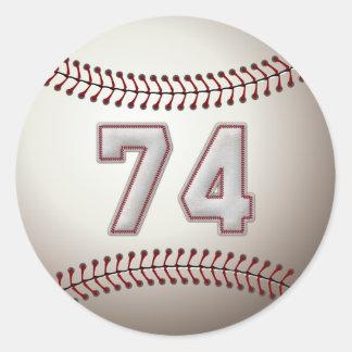 Jugador número 74 - puntadas frescas del béisbol pegatina redonda