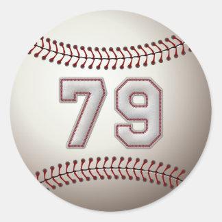 Jugador número 79 - puntadas frescas del béisbol pegatina redonda