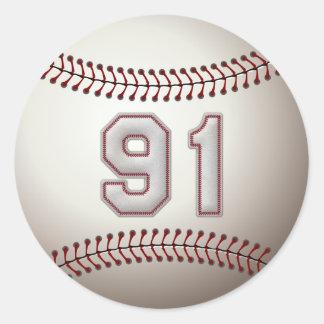 Jugador número 91 - el béisbol fresco cose los pegatina redonda