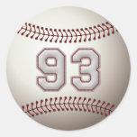 Jugador número 93 - puntadas frescas del béisbol etiqueta redonda