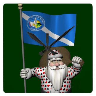 Jugador Papá Noel con la bandera de Las Vegas Reloj Cuadrado
