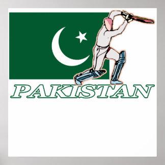 Jugador paquistaní del grillo póster