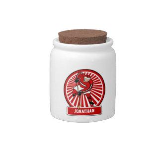 Jugador personalizado del hockey sobre hielo jarra para caramelo