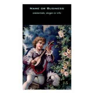 Jugador pintoresco de la mandolina del vintage tarjetas de visita