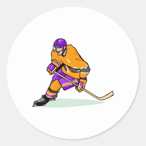 Jugador púrpura anaranjado pegatinas redondas