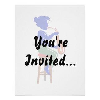 jugador que se sienta femenino blue png abstracto invitaciones personalizada