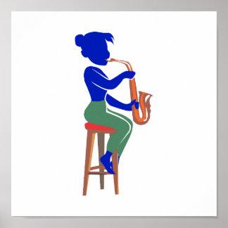 jugador que se sienta femenino blue.png abstracto  posters