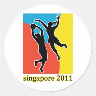 Jugador Singapur 2011 del Netball Etiquetas Redondas