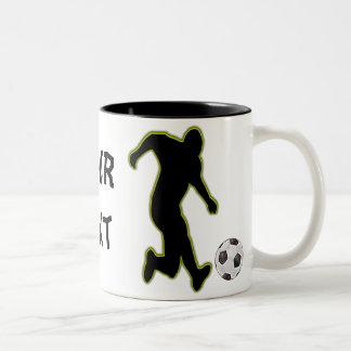 Jugador-taza del fútbol