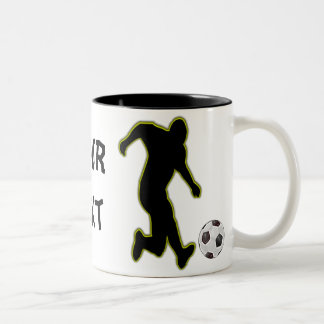 Jugador-taza del fútbol taza de café de dos colores