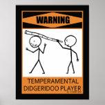 Jugador temperamental amonestador de Didgeridoo Poster