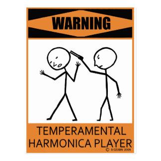 Jugador temperamental amonestador de la armónica postales