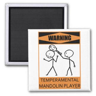 Jugador temperamental amonestador de la mandolina imán cuadrado