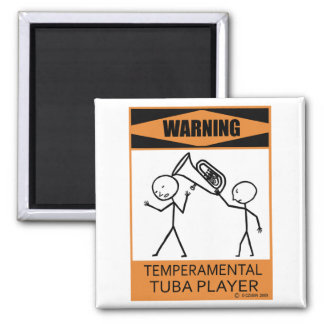 Jugador temperamental amonestador de la tuba imán cuadrado