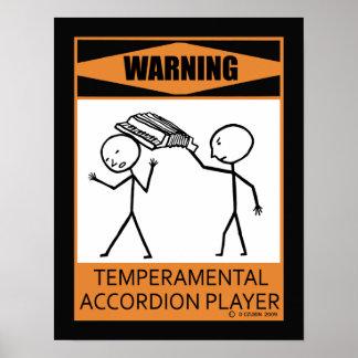 Jugador temperamental amonestador del acordeón poster