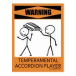 Jugador temperamental amonestador del acordeón postal