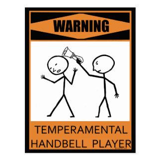 Jugador temperamental amonestador del Handbell Postales