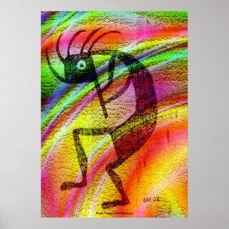 Jugador y arco iris de flauta póster