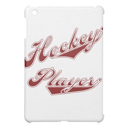 Jugador y regalos rojos de hockey del texto