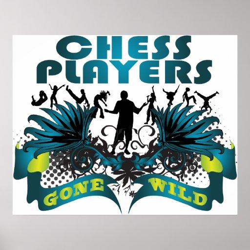Jugadores de ajedrez idos salvajes póster