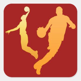 Jugadores de básquet pegatina cuadrada