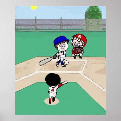 Jugadores de béisbol lindos de la plantilla de la  poster